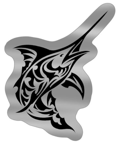 black and silver tribal marlin