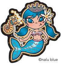 cute mermaid girl with seahorse decal