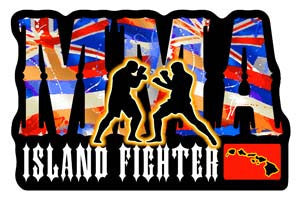 mma island fighter with two fighters silhouette