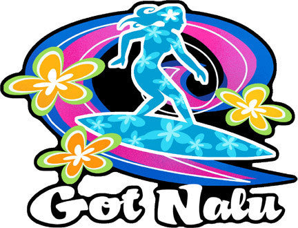 Blue silhouette of girl surfing a wave with Got Nalu