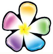 rainbow plumeria flower decal
