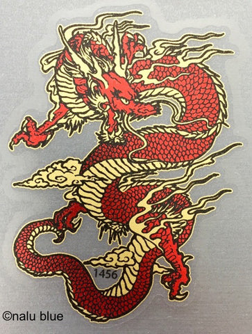 red and gold chinese dragon decal