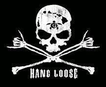 "skull with hawaiian islands outline and cross bones with shakas ""hang loose"" decal"