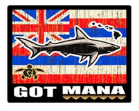 shark with hawaiian flag background and got mana