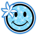 happy face with light blue floral pattern and flower decal