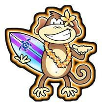 monkey with surfboard
