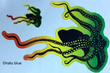 black tako (octopus) decal with red yellow green outline