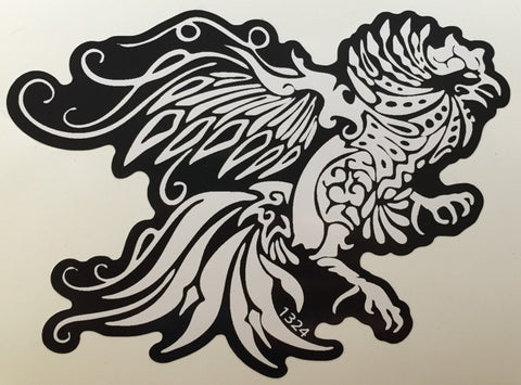 black and white chicken decal