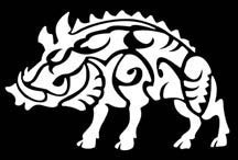 white tribal boar decal
