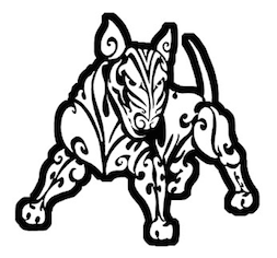 black and white tribal bull terrier decal