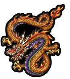 orange chinese dragon decal