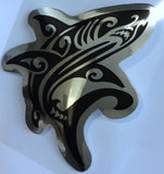 black and chrome tribal shark decal