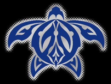 blue and chrome tribal honu decal