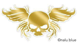 gold skull with angel wings