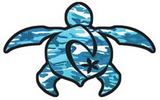camoflage blue turtle decal