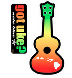"red, yellow, green ""got uke?"" and ukulele decals"