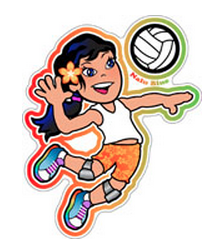 cute girl hitting volleyball decal