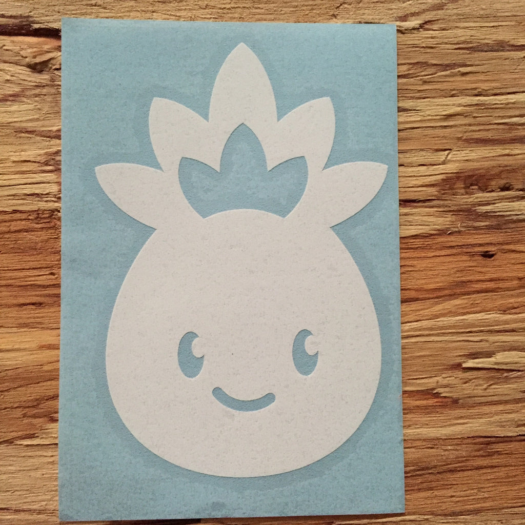 white pineapple with cute face