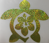 yellow glitter holographic die-cut hibiscus honu
