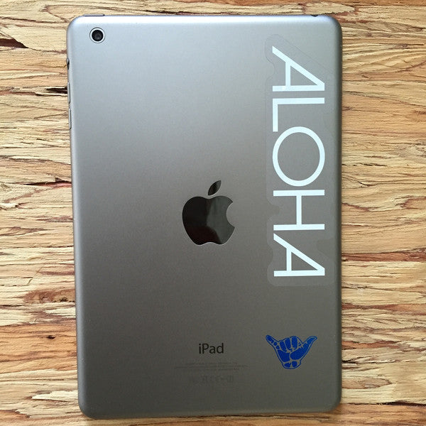 Aloha and shaka sticker on ipad
