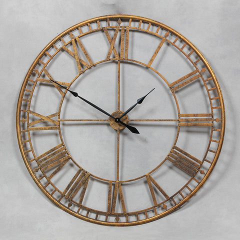 Chronos Large Wall Clock Skeleton In Gold