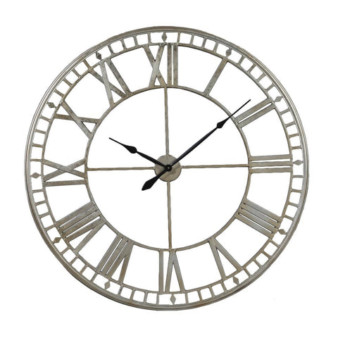 Chronos Large Wall Clock Skeleton In Silver