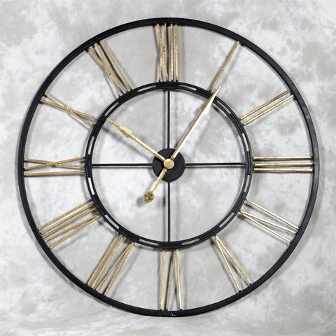 Chronos Iron Large Wall Clock Skeleton Black and Gold
