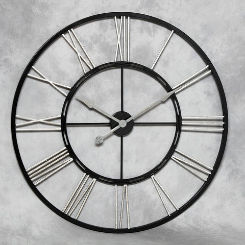 Chronos Iron Large Wall Clock Skeleton Black and Silver
