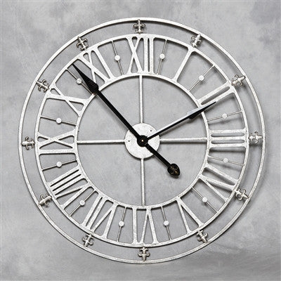 Chronos Medium Iron Skeleton Vintage Wall Clock Silver
