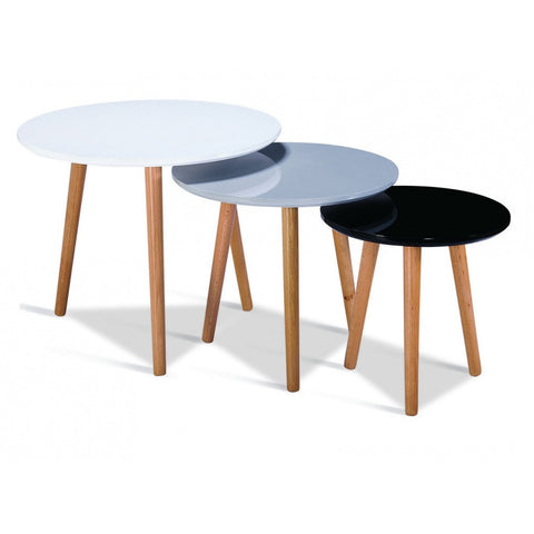 Sandon High Gloss Nest of Tables with Solid Beech Legs - P&N Homewares