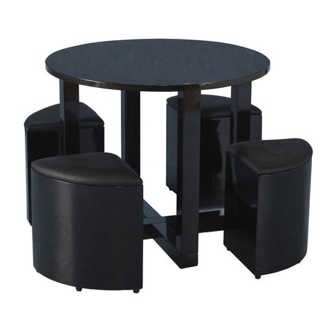 Charisma Stowaway Dining Set - Black Gloss and Faux Leather - P&N Homewares  - 1