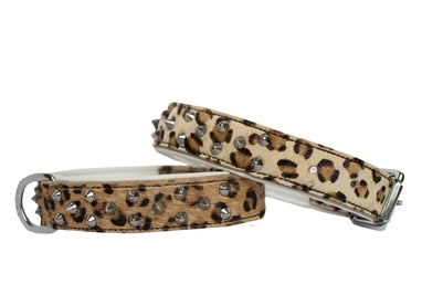 Spotted Cheetah Print Dog Collar with Spikes