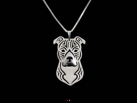 American Staffordshire 3D Portrait Necklace With Floppy Ears