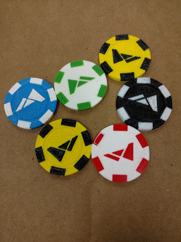 Poker chips with precise color changes