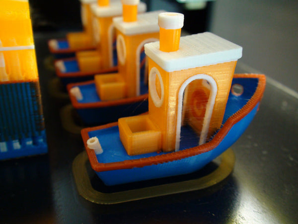 Four multi-color 3DBenchy prints printed with Palette+ by Jetguy