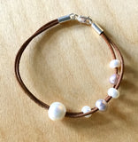 Pearl Orbit Leather Bracelet