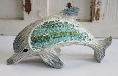 Mosaic Dolphin Statue