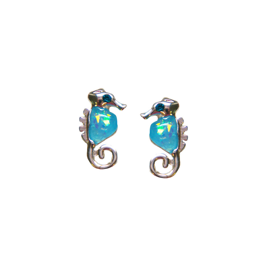 Seahorse Opal Stud Earrings