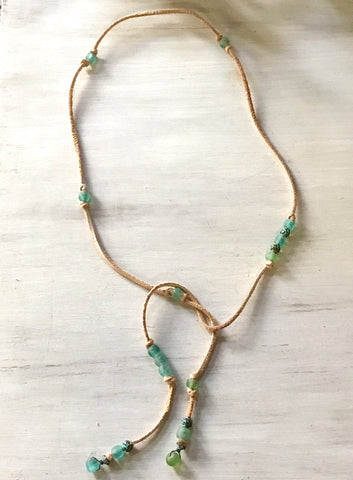 Seafoam Recycled Glass Lasso Necklace