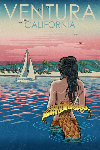 Mermaid Sailboat Ventura Coaster