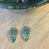 Abalone Filigree Pear Earrings