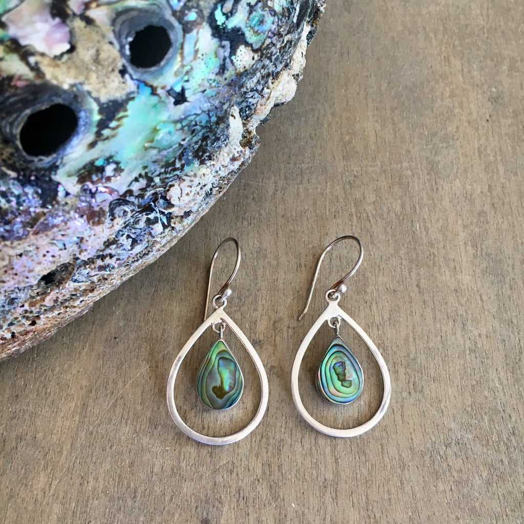 Abalone Hoop Tear Drop Earrings