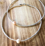Single Pearl Linen Necklace
