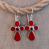 Red Coral Cross Earrings