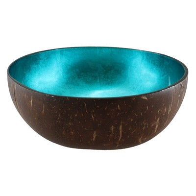 Metallic Turquoise Coconut Bowl