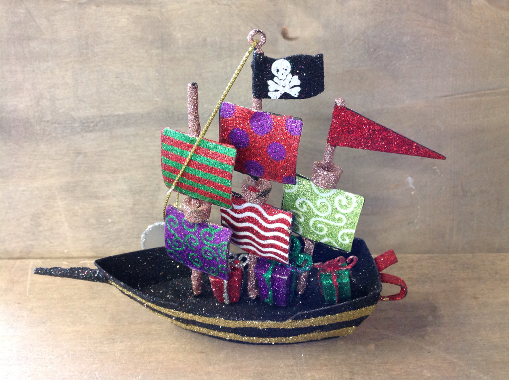 Christmas Pirate Ship Ornament