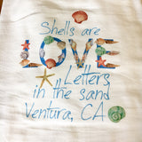 Seashell Love Letters Tea Towel