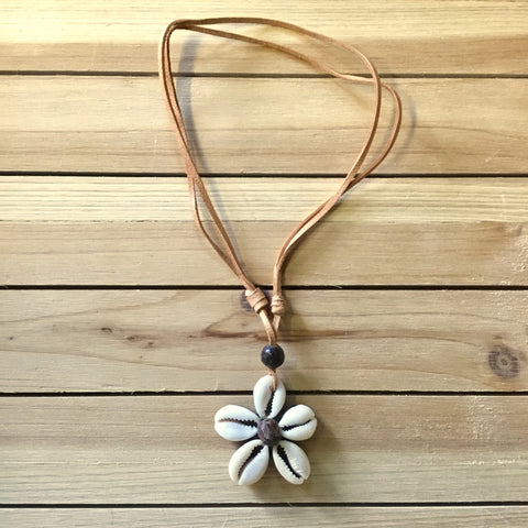 Cowrie Flower Suede Necklace