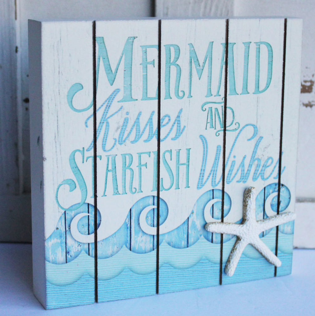 Mermaid Kisses Plank Box Sign