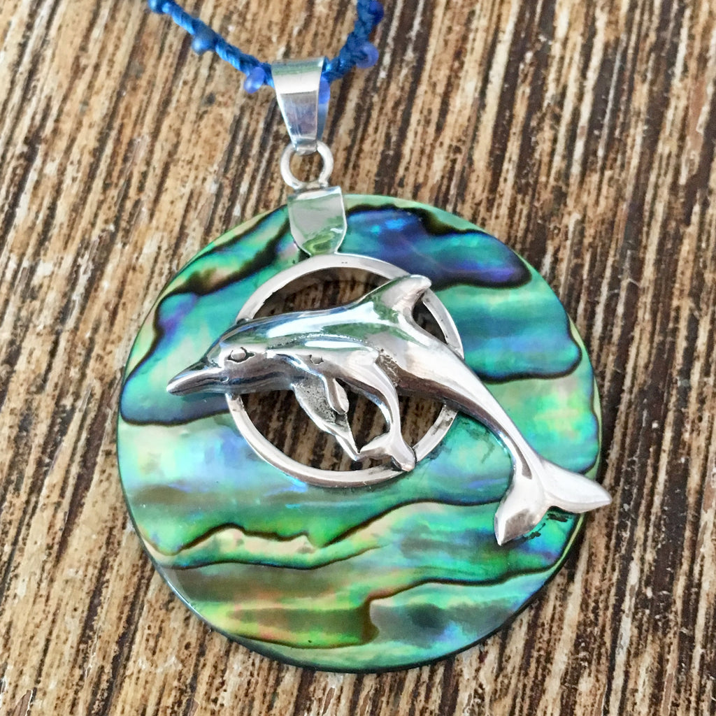Dolphin Abalone Circle Necklace